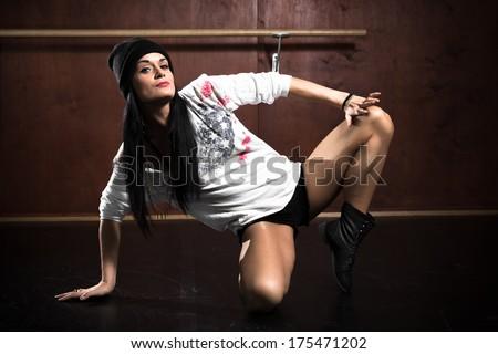 Dance. Hip Hop Dancer. Dancing Teenage Girl. - stock photo