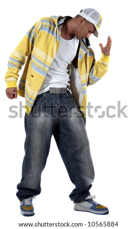Dance-move Young man with clothes in hip-hop style showing a dance move over pure white background. - stock photo