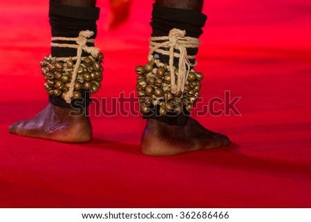 Dance rattles. Rattles feet. Indian dances. Bells dancer. - stock photo