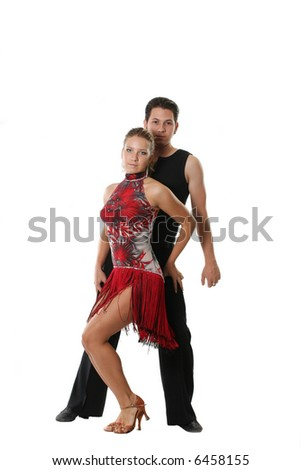 dancer ballroom dancing couple latin rumba white - stock photo