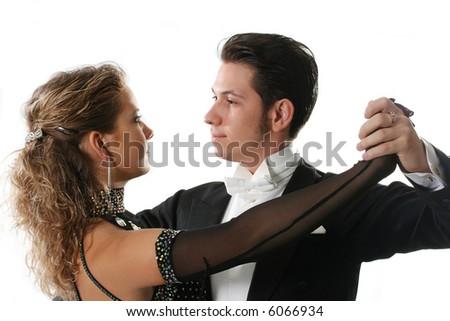 dancer ballroom dancing couple tango partners dance - stock photo