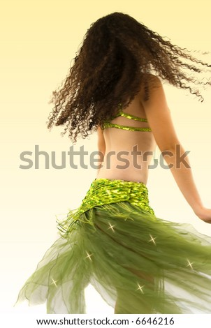 Dancer during performance (motion blur) - stock photo
