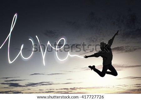 Dancer girl in jump