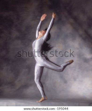 Dancer in joyful triumphant movement. - stock photo