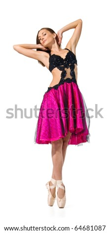 dancer is in a red dress.Ballet.Dance.woman model on a white background. - stock photo