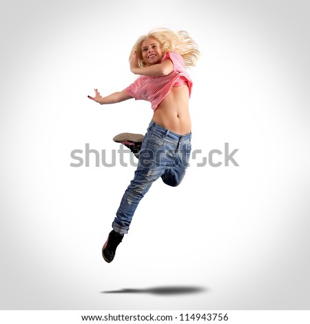 Dancer jumping, isolated on white - stock photo