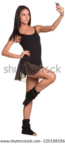 Dancer makes selfie from your mobile phone - stock photo
