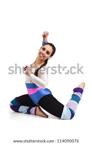 Dancer posing against a white background - stock photo