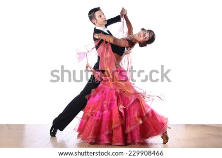 dancers in ballroom isolated on white background - stock photo