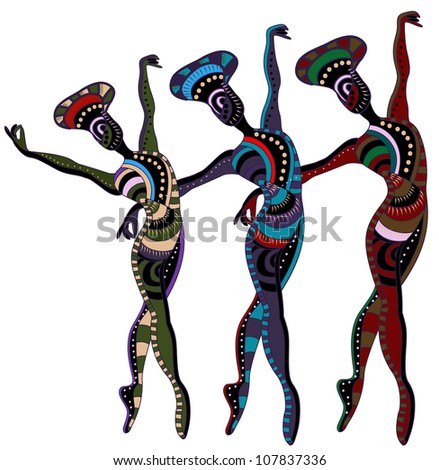 dancers in ethnic style dance a beautiful dance - stock photo