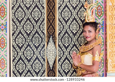 dancers of the traditional Thai style - stock photo
