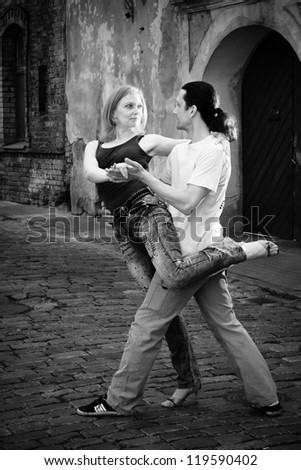 dancers on the street - stock photo