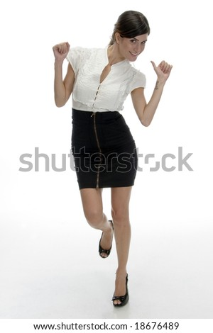 dancing beautiful model on an isolated white background - stock photo