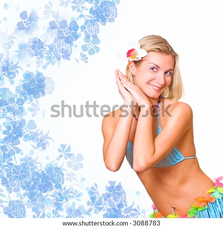 Dancing blond girl - stock photo