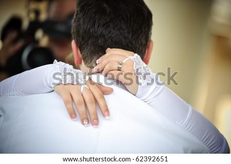 Dancing bride and groom - stock photo