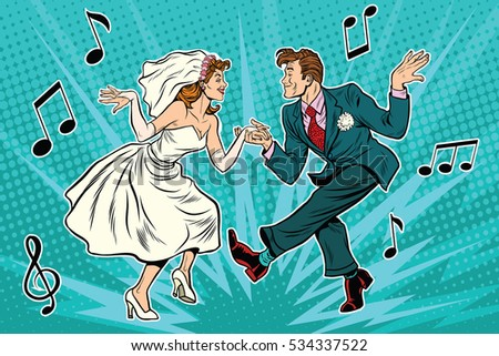 Wedding Dance Lovers Man Woman Pop Stock Vector 354475043 ...