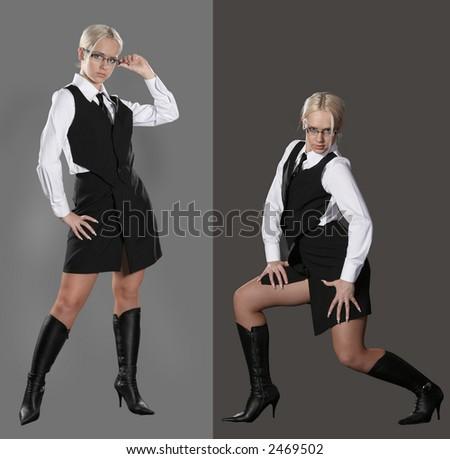 dancing business girl - stock photo