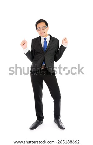 Dancing businessman isolated on over white background - stock photo