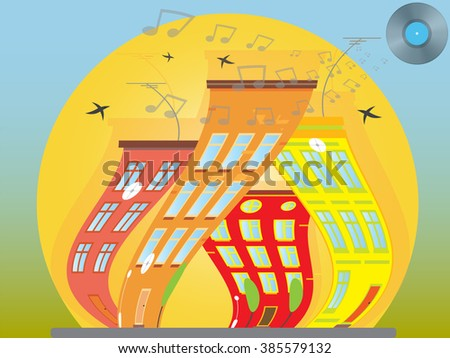 Dancing city sunny city, with beautiful houses. city landscape. Raster version. Illustration - stock photo