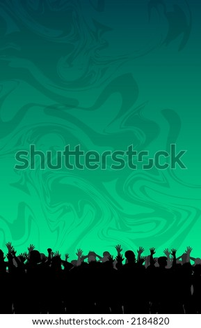 Dancing Crowd with Disco Backdrop