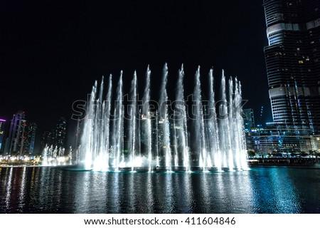 Dancing fountains  in Dubai, United Arab Emirates - stock photo