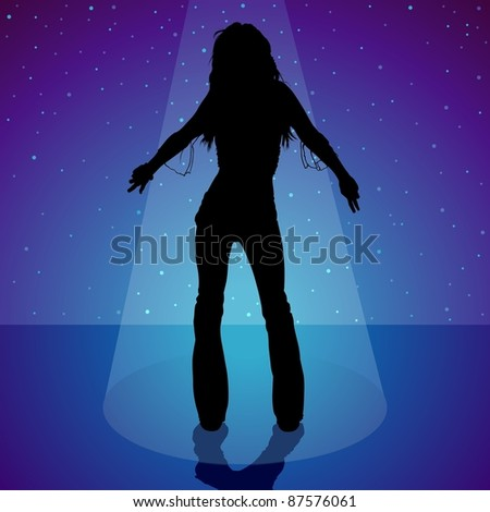 Dancing Girl - Girl Silhouette and Stage Light
