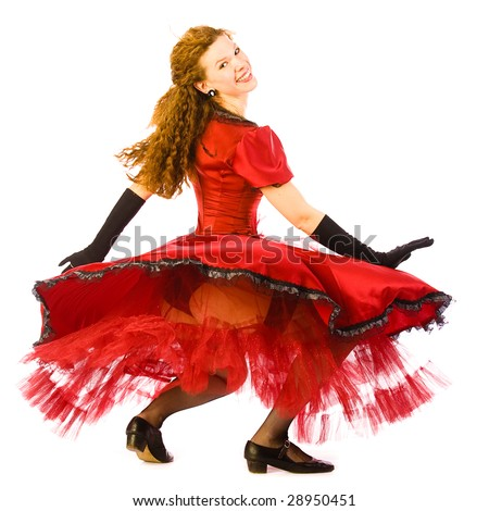 Dancing girl go round on white background - stock photo
