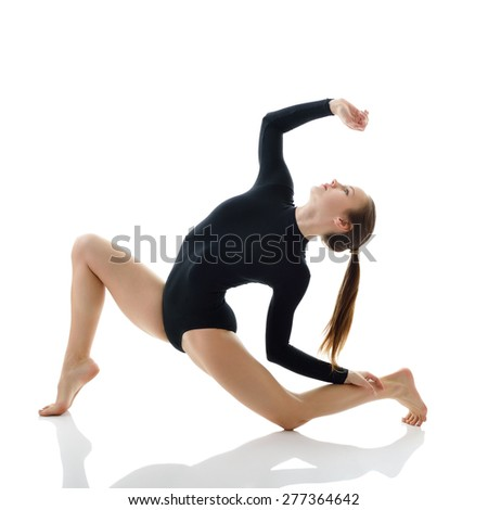 Dancing girl, over white