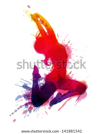 Dancing girl with grungy splashes - stock photo