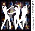 Dancing girls on the background lights - stock vector