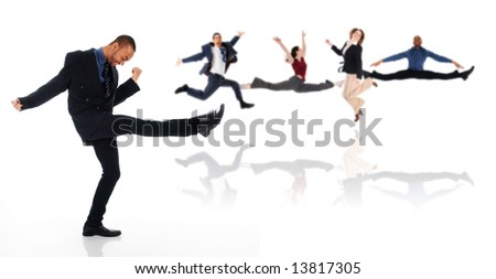 dancing happy winner business man on white - stock photo