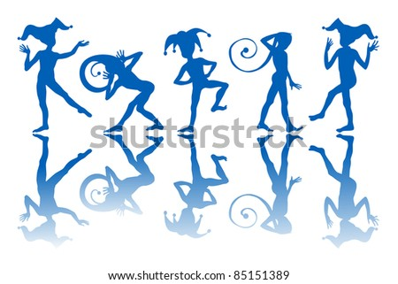 Dancing harlequins silhouettes and reflection over white background. - stock photo