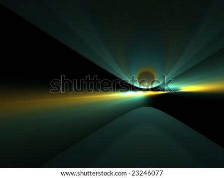 dancing impact - 3D fractal landscape - stock photo