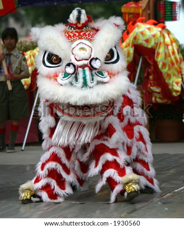 Dancing Lion, Chinese New Year Parade, Mid-Autumn Festival. - stock photo