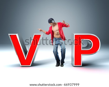 dancing man with headphone and 3d vip text - stock photo