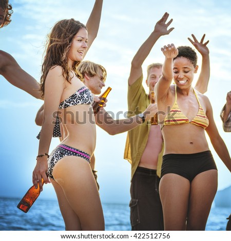 Dancing Party Beach Celebration Summer Vacation Concept