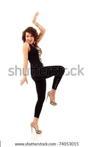 dancing party girl happy young attractive isolated on white background