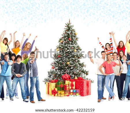 Dancing people  and Christmas Tree. Over white background - stock photo