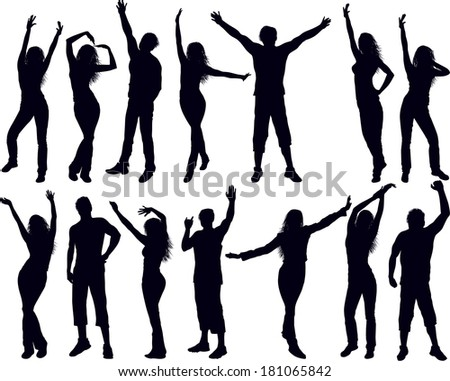 Dancing people silhouettes. Raster version