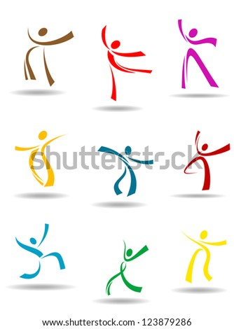 Dancing peoples pictograms for entertainment or sports design, such as idea. Vector version also available in gallery