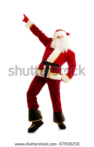 Dancing Santa Claus isolated over white