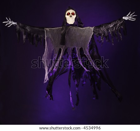 Dancing Skeleton with glowing eyes on a purple background