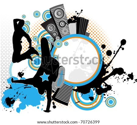 Dancing youth men. Music city. Raster version of vector illustration. - stock photo