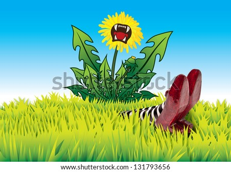 Dandelion fallen on the wicket witch - stock photo