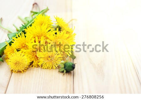 Dandelion flowers on the wooden background - stock photo