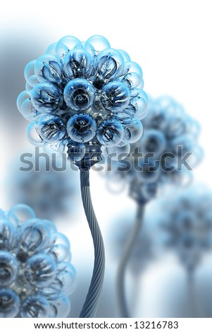 dandelion made from electric bulbs - stock photo
