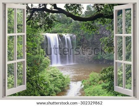 Dangar falls in open window - stock photo