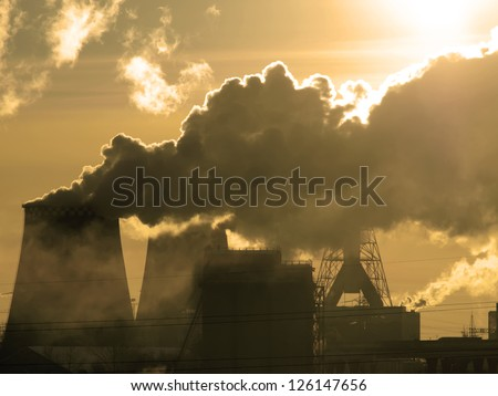 Danger! Air pollution! Sepia tone - stock photo