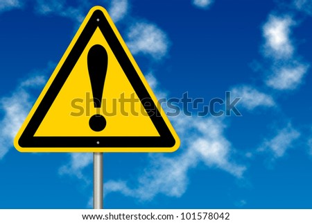 Danger And Hazard Sign on a sky background - stock photo