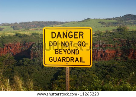 Danger do not go beyond guardrail - stock photo